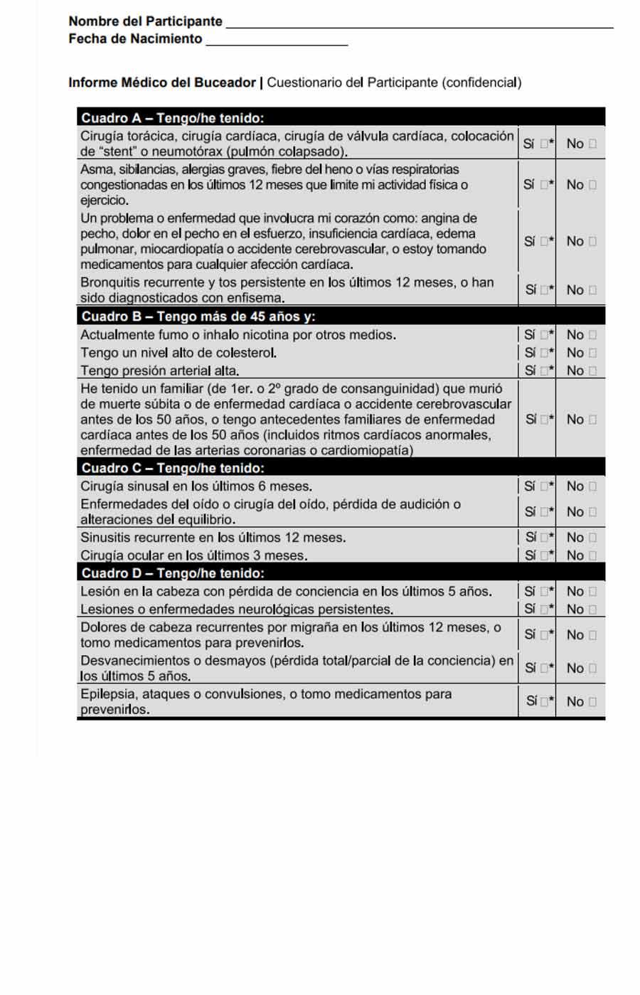 Exámen para certificado médico submarinismo